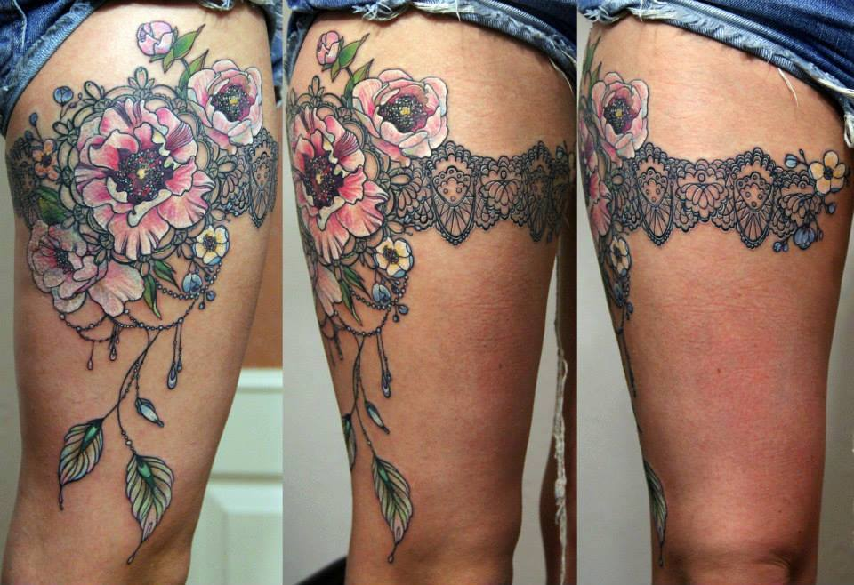 color flowers and garter lace tattoo on thigh. Black Bedroom Furniture Sets. Home Design Ideas