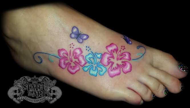 Colored Hibiscus Tattoos On Foot By State Of Art Tattoo