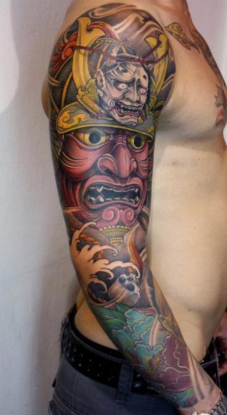 Colored Japanese Samurai Tattoo On Right Sleeve