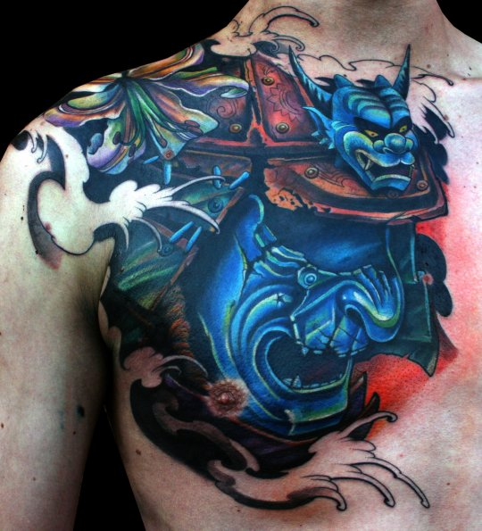 Black Ink Samurai Tattoo On Man Right Front Shoulder