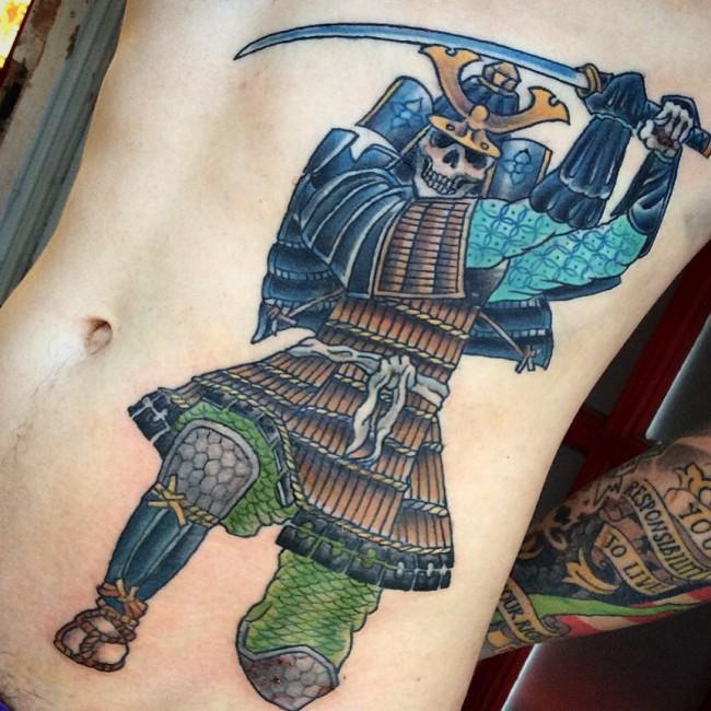 Colored Samurai Tattoo On Hip - Best traditional samurai tattoo designs meaning men women