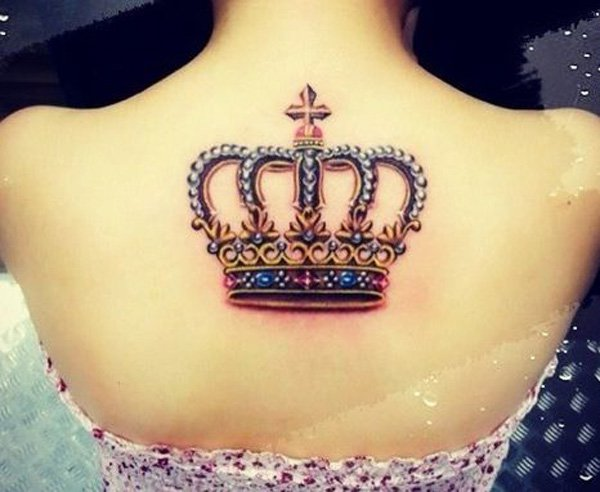 Colorful Attractive Queen Crown Tattoo On Girl Upper Back