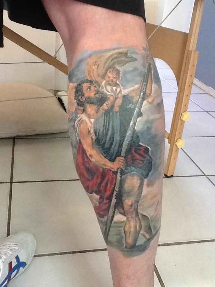9b93a42bd5ae5 Colorful Saint Christopher Tattoo On Right Leg Calf