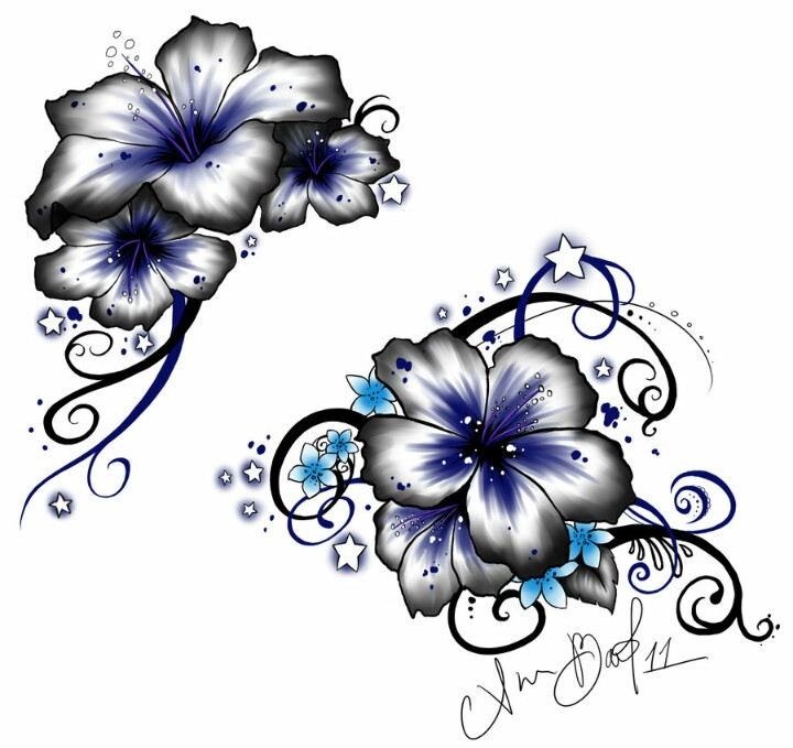 Cool Hibiscus Flowers Tattoos Designs