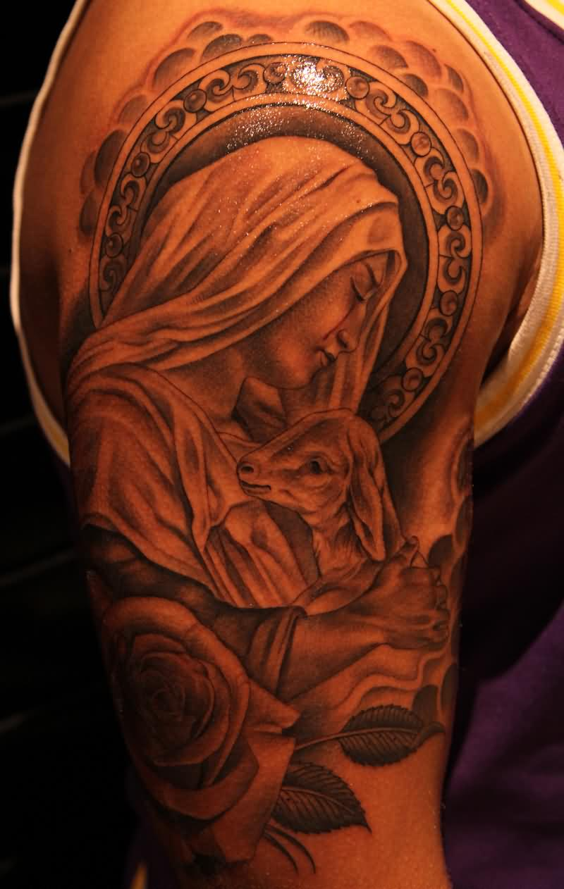 19 saint mary mother of god tattoos designs for Cool rose tattoos