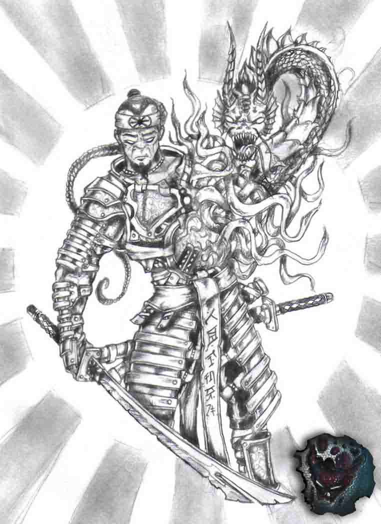 35 Samurai Dragon Tattoo Design