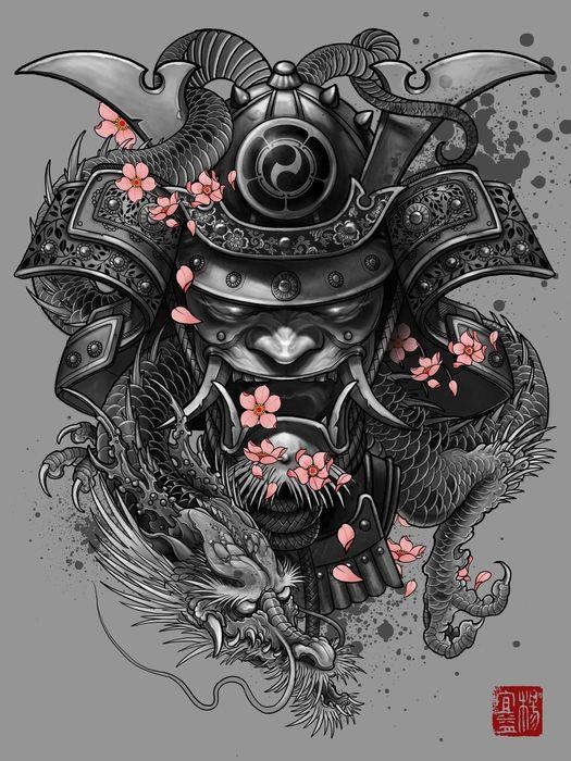 Samurai Dragon Mask 35 Tattoo Design