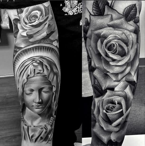 Tattoo Leg Man Rose Flower Black And White: 38+ Awesome Saint Mary Tattoos