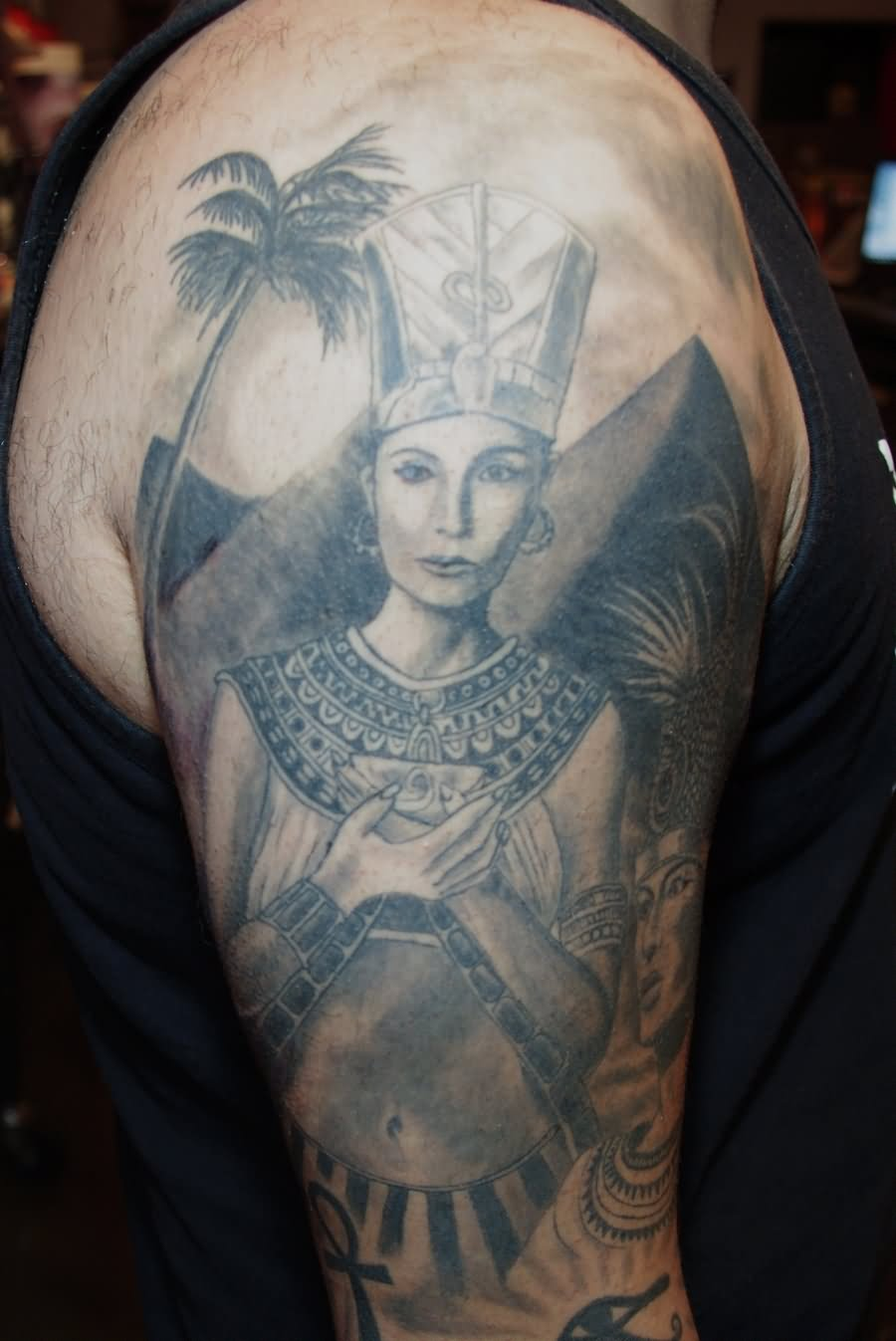 Grey Ink Egyptian Queen Tattoo On Right Half Sleeve