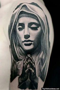 Grey Ink Saint Mary Tattoo Design For Half Sleeve
