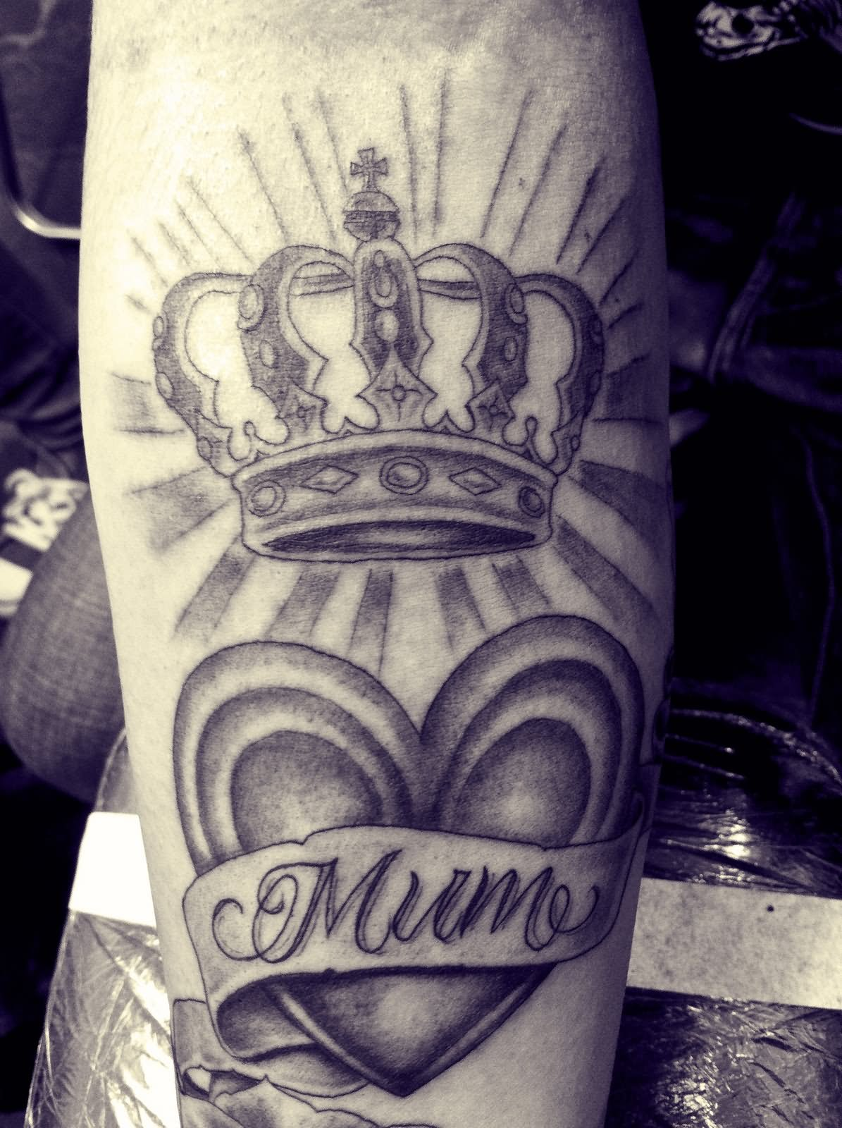 Heart With Banner And Queen Crown Tattoo Design For Arm