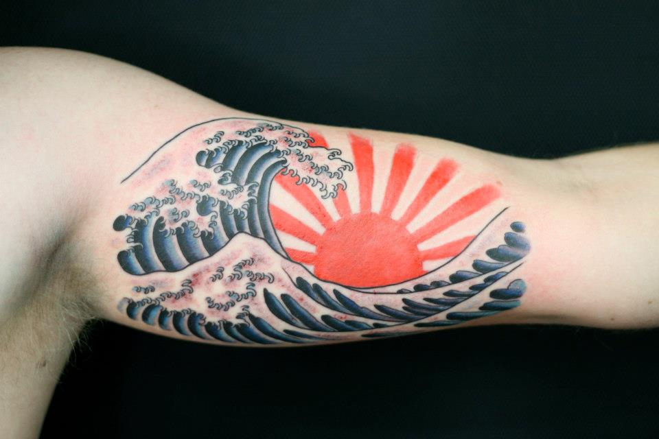 12 wave tattoos on bicep for Wave arm tattoo
