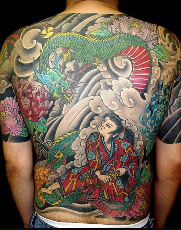036cedb8b439d Japanese Dragon Samurai Tattoo On Full Back