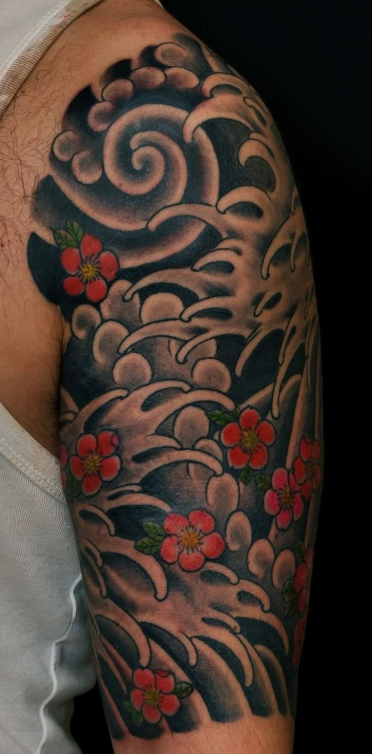 14 awesome wave tattoos on half sleeve for Japanese sleeve tattoos meanings