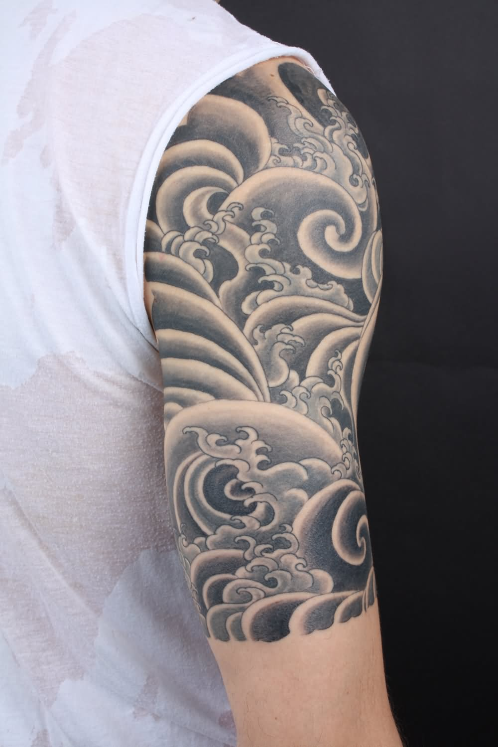 Japanese Wave Tattoo On Half Sleeve