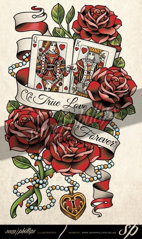 King And Queen Of Hearts Card With Roses Banner Tattoo Design