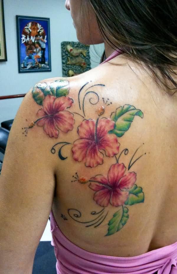 22 hibiscus tattoos on back shoulder. Black Bedroom Furniture Sets. Home Design Ideas