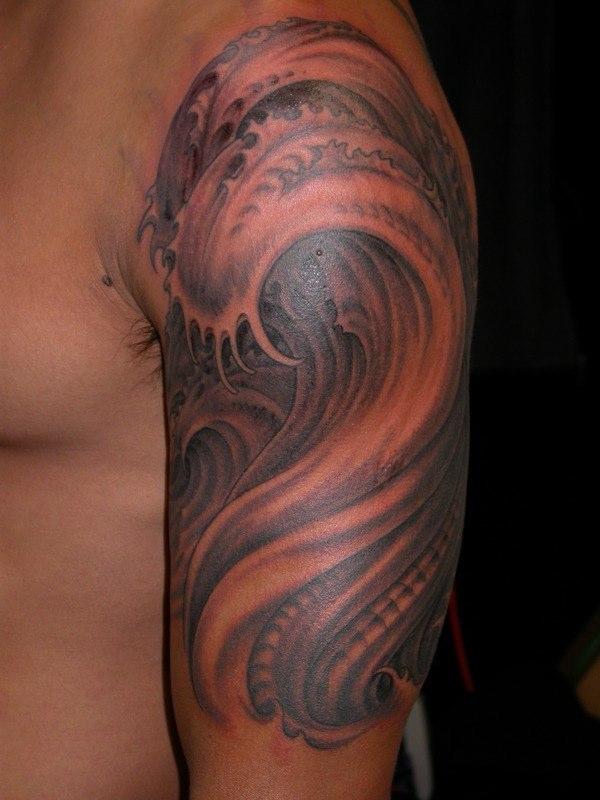 3cfe4350dd6e9 Left Half Sleeve Realistic Wave Tattoo