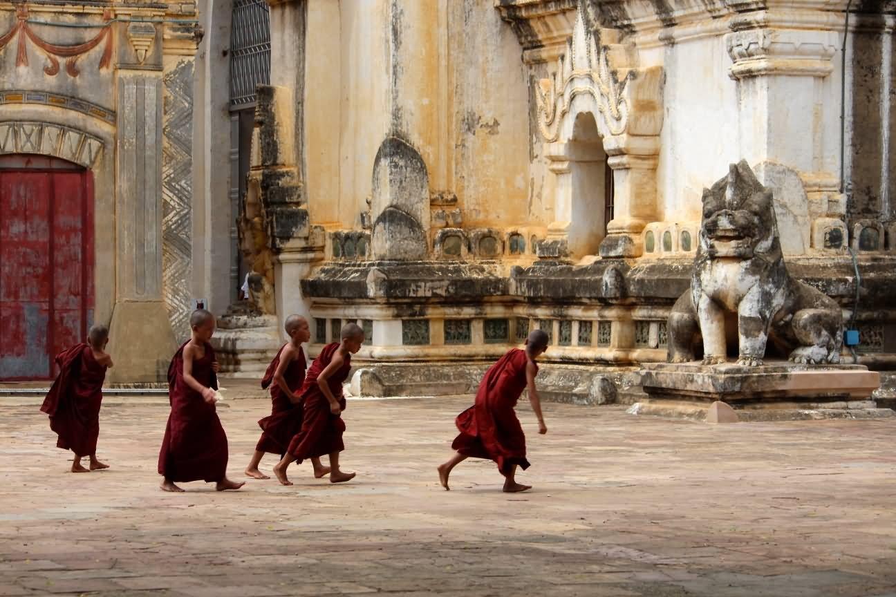 Monks Inside The Ananda Temple