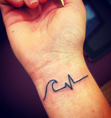 outline water wave and heartbeat tattoo on wrist