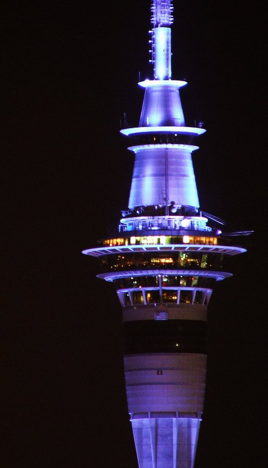 Purple Lights On The Sky Tower At Night