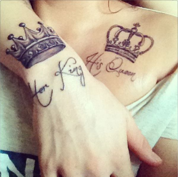 Queen And King Crown Tattoo Design