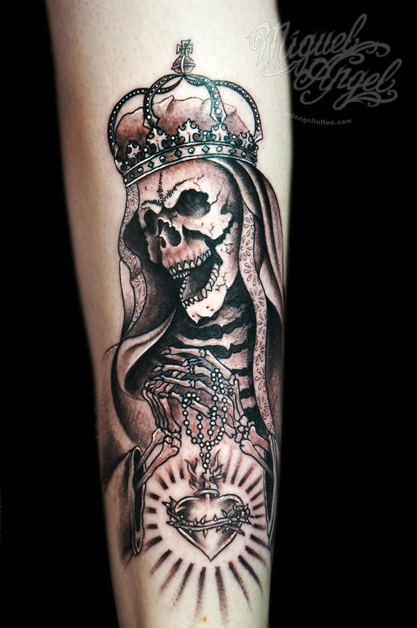 Queen Skeleton Tattoo Design For Sleeve