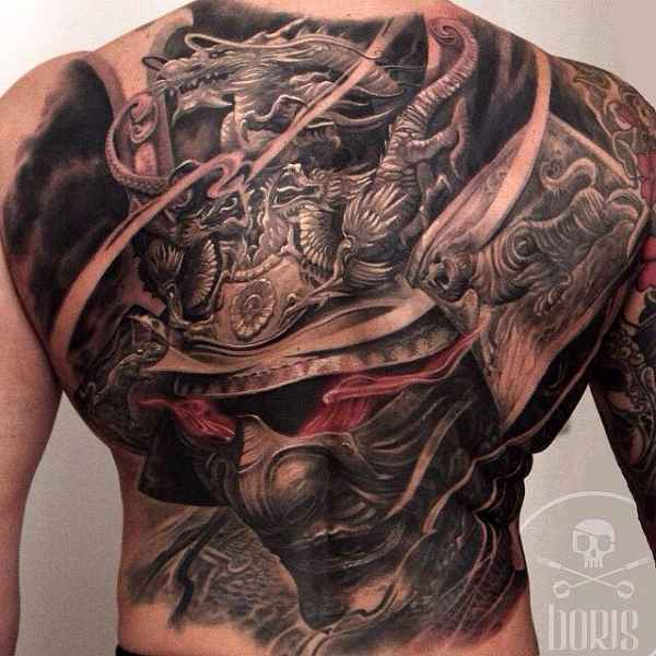 samurai mask tattoo on full body. Black Bedroom Furniture Sets. Home Design Ideas