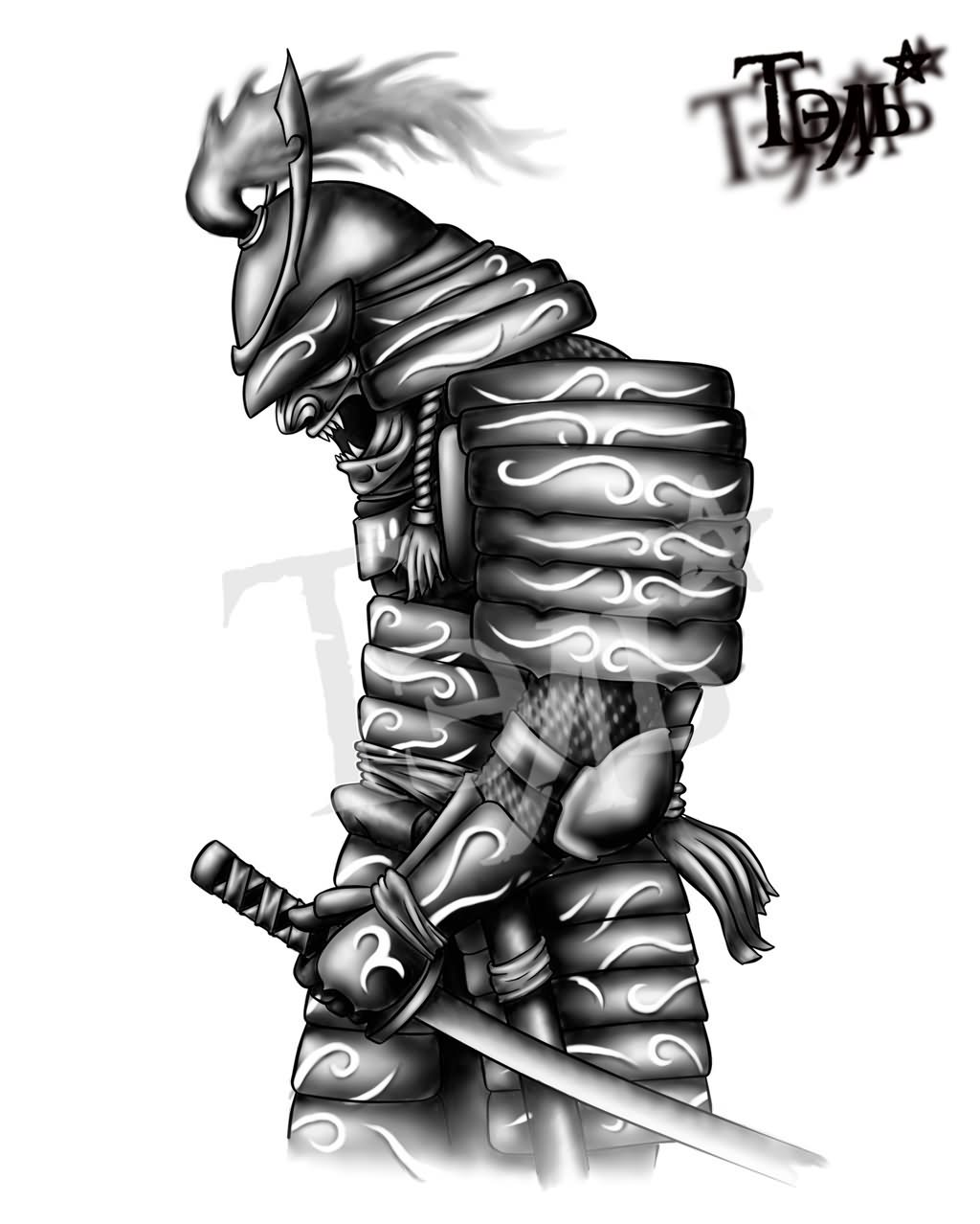 Black And Grey Samurai With Sword Tattoo Design For Forearm