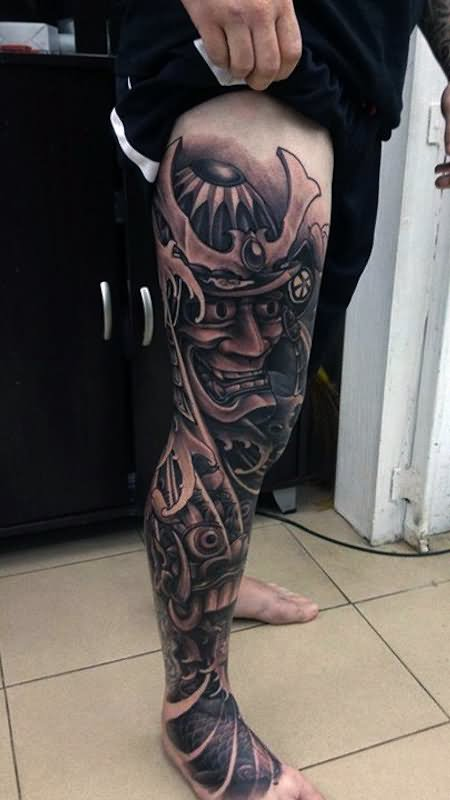 32 samurai warrior tattoo for Thigh sleeve tattoo