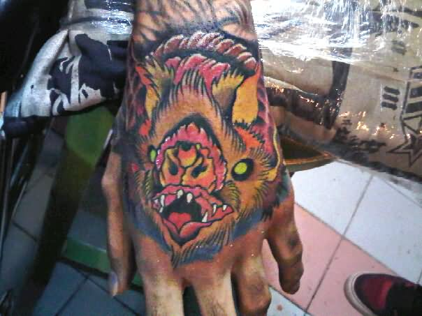 44999ff9053cd Traditional Vampire Bat Tattoo On Hand