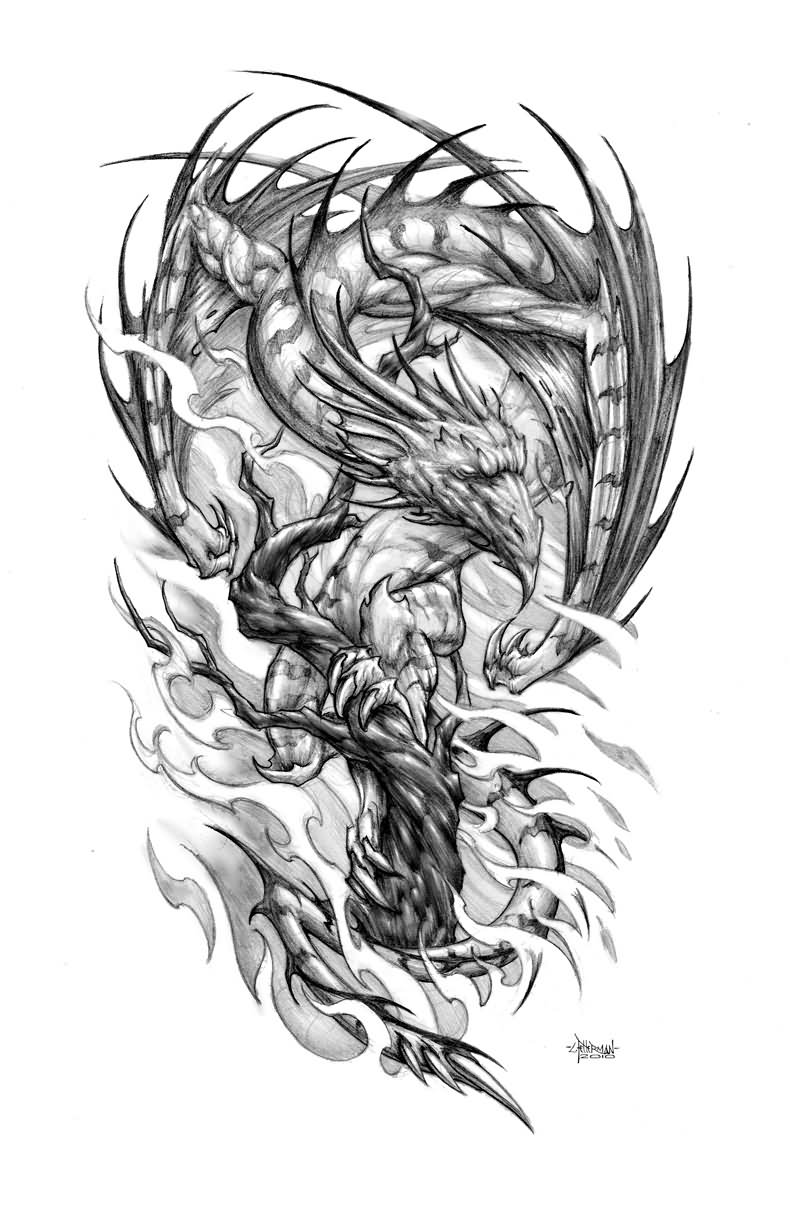 35 Samurai Dragon Tattoo Design