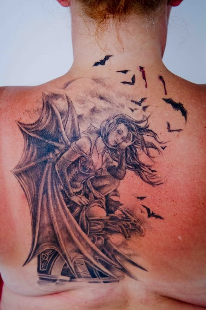 782e9eb27 Vampire With Wings Tattoo Design For Upper Back