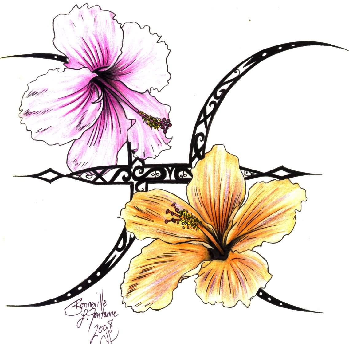 Yellow And Pink Hibiscus With Pisces Symbol Tattoo Design