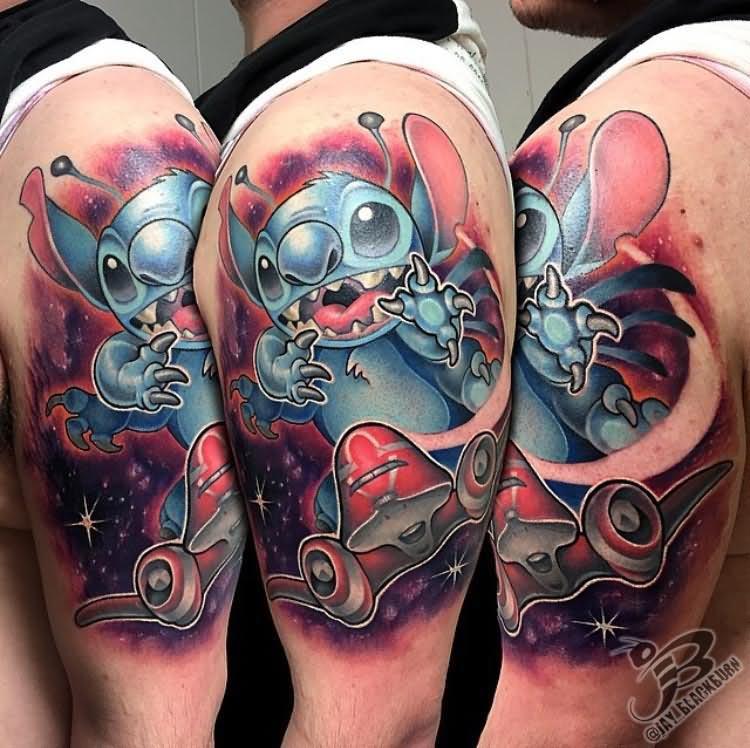 02e2354b6 Attractive Stitch Tattoo On Man Left Half Sleeve