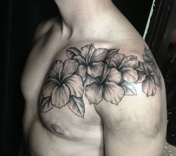 30 hibiscus black and white tattoos black and white hibiscus tattoo on man front shoulder mightylinksfo