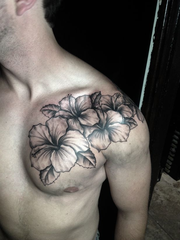 f01a78287 Black And White Hibiscus Tattoos On Front Shoulder