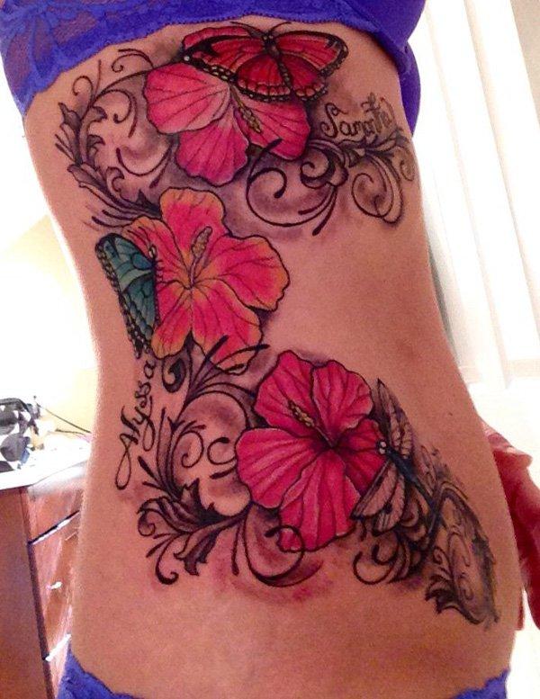 16 nice hibiscus tattoos on side rib. Black Bedroom Furniture Sets. Home Design Ideas