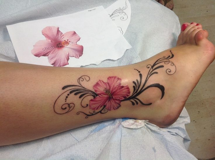 hibiscus tattoo on girl right ankle. Black Bedroom Furniture Sets. Home Design Ideas