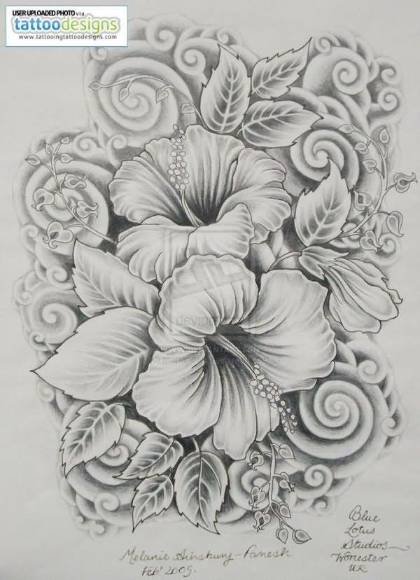 Hibiscus Tattoo Outline: 30+ Hibiscus Black And White Tattoos