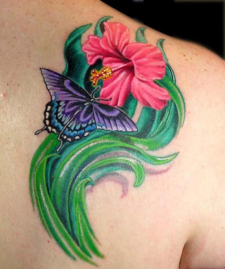 Hibiscus tattoo on back shoulder hibiscus flower tattoo on girl right