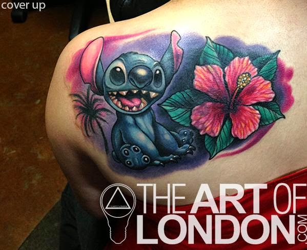 645c3a633 Stitch With Flower Tattoo On Left Back Shoulder