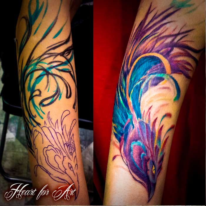 Colorful Feather Tattoo Done In March 2013: 35+ Phoenix Tattoos On Forearm