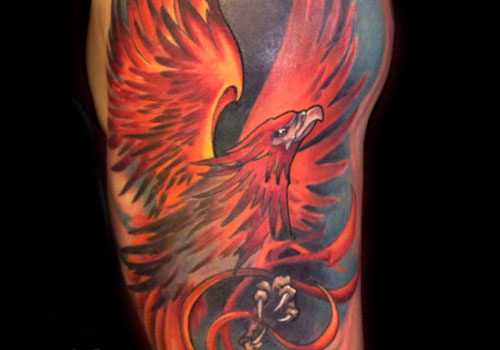 38 phoenix tattoos on half sleeve. Black Bedroom Furniture Sets. Home Design Ideas