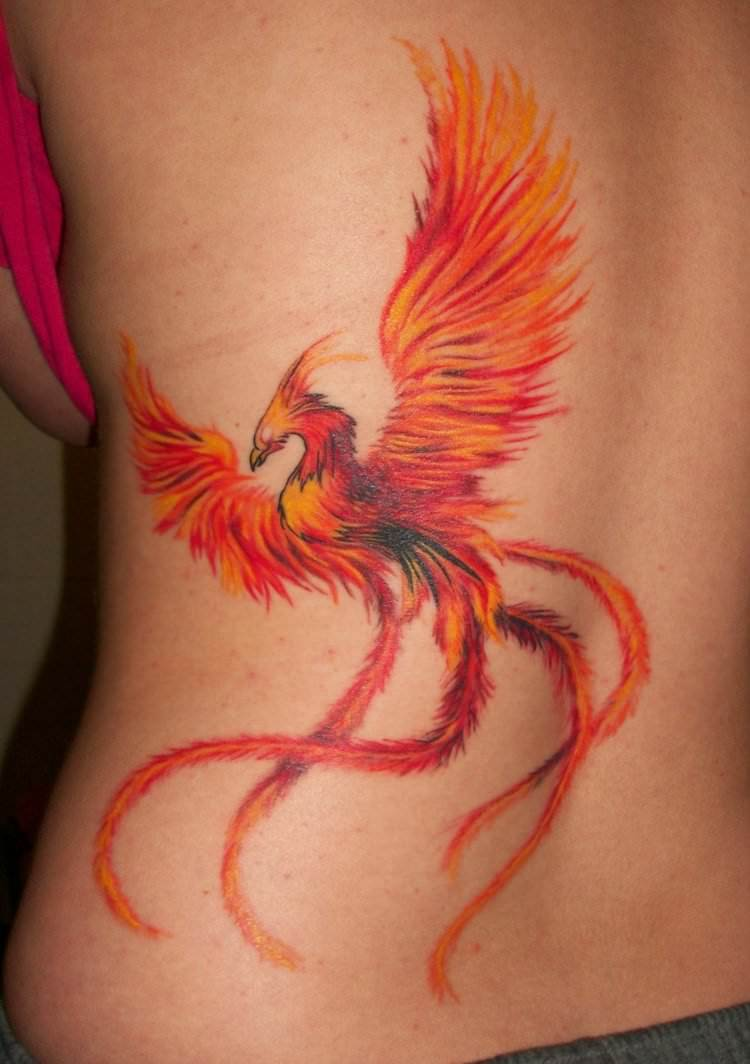 Colorful phoenix tattoo designs - Amazing Rising Phoenix From The Ashes Tattoo Design For Girl Back