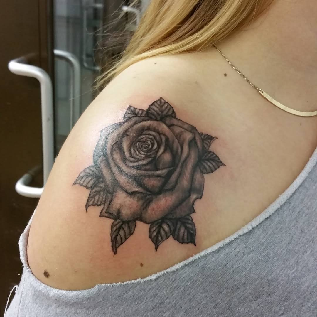 Beautiful black rose shoulder tattoo for girls for Rose tattoo on back shoulder