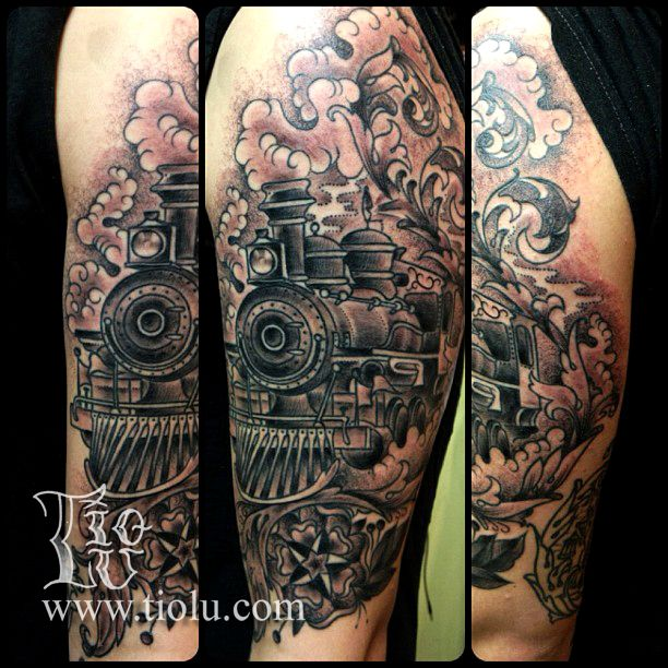 14 amazing train tattoo designs for Traditional black and grey tattoo