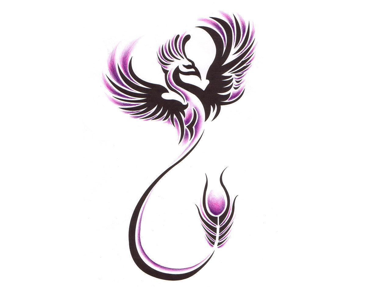 Tribal-Tattoos Black-And-Purple-Tribal-Phoenix-Tattoo-Design