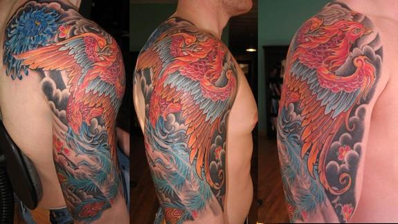 38 phoenix tattoos on half sleeve. Black Bedroom Furniture Sets. Home Design Ideas