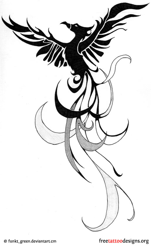 colorful tribal phoenix tattoo design. Black Bedroom Furniture Sets. Home Design Ideas